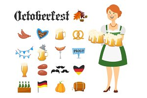 Smiling Bavarian woman dressed in traditional costume and apron with beer glasses and set of Oktoberfest icons. Traditional symbols of autumn holiday of beer isolated on white background. Cartoon style vector illustration
