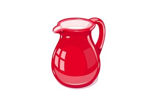 Red Ceramic jug with milk