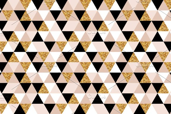 Geometry Gold Black And White Triangles Texture