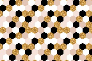 gold, black and white hexagon texture