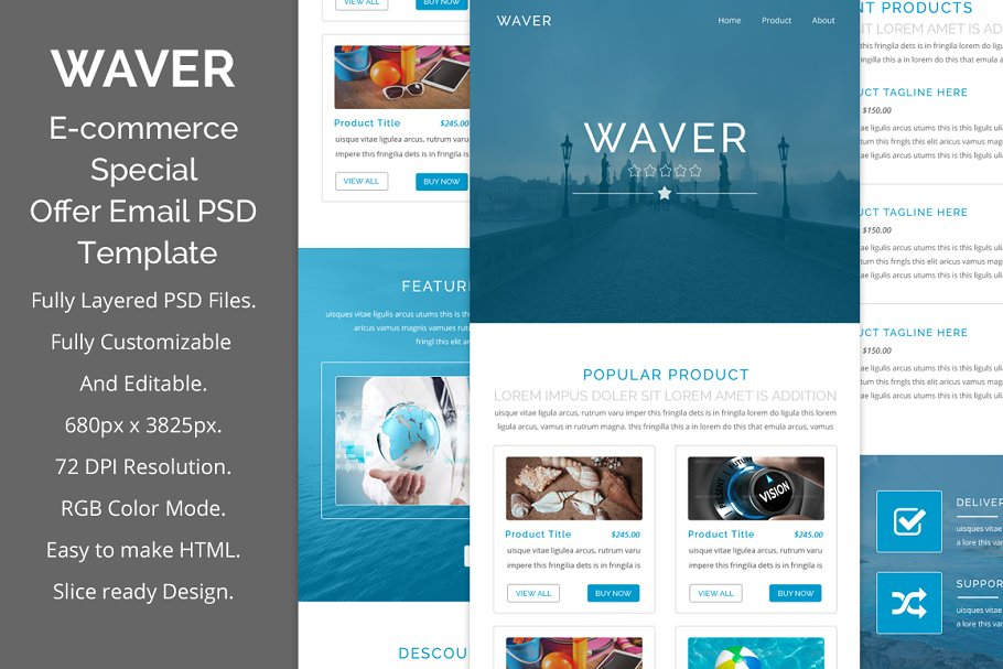 Waver e-commerce psd email template
