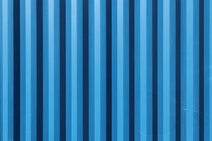 Blue Corrugated Steel Fence Wall