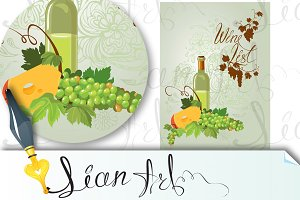 Wine bottle, cheese and green grapes