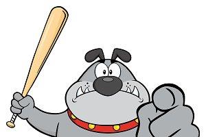 Angry Gray Bulldog Holding A Bat