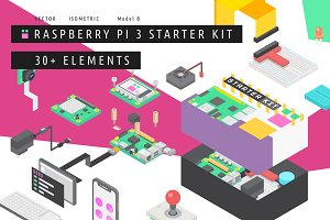 Isometric Raspberry Pi 3 Starter Kit