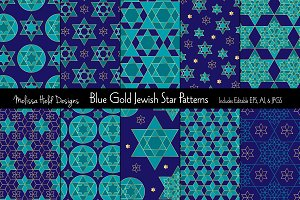 Blue Gold Jewish Star Patterns