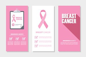 Breast cancer flyers set.