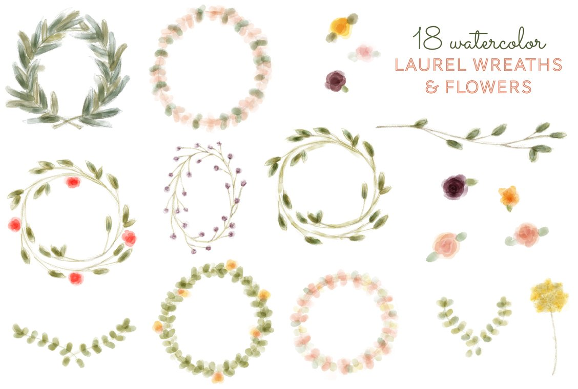 18 Watercolor Laurel Wreath & Flower ~ Illustrations ...