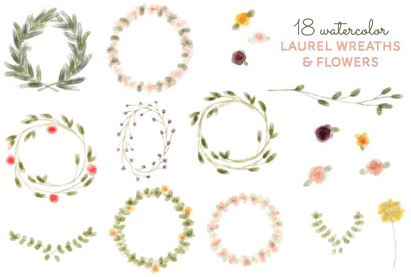 18 Watercolor Laurel Wreath & Flower ~ Illustrations ...