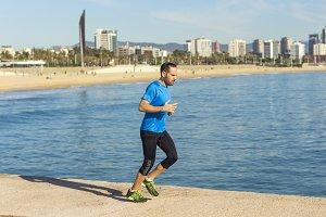 Runner man training on the beach