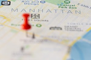 Map of Manhattan with push pins