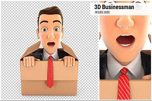 3D Businessman Coming Out Box