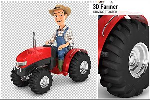 3D Farmer Driving Tractor