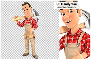 3D Handyman Carrying Hammer