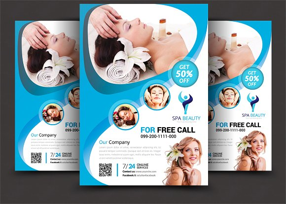 Beauty Salon Spa Flyer Templates Flyer Templates Creative Market - Spa brochure templates