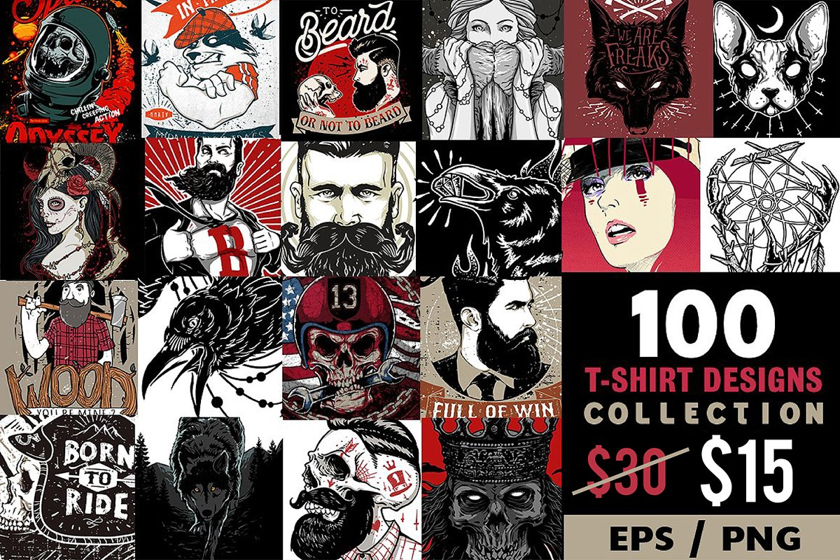 0b7c7172262 50% OFF 100 T-shirt Designs ~ Illustrations ~ Creative Market