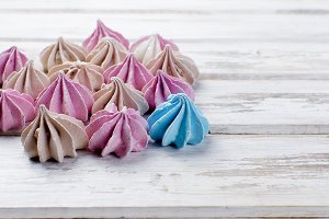 Pink and beige meringues