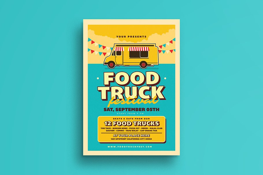 Retro Food Truck Event Flyer Flyer Templates Creative Market Pro - Food truck flyer template