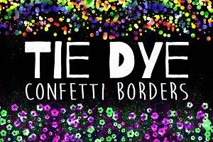 Tie Dye Confetti Border Overlays