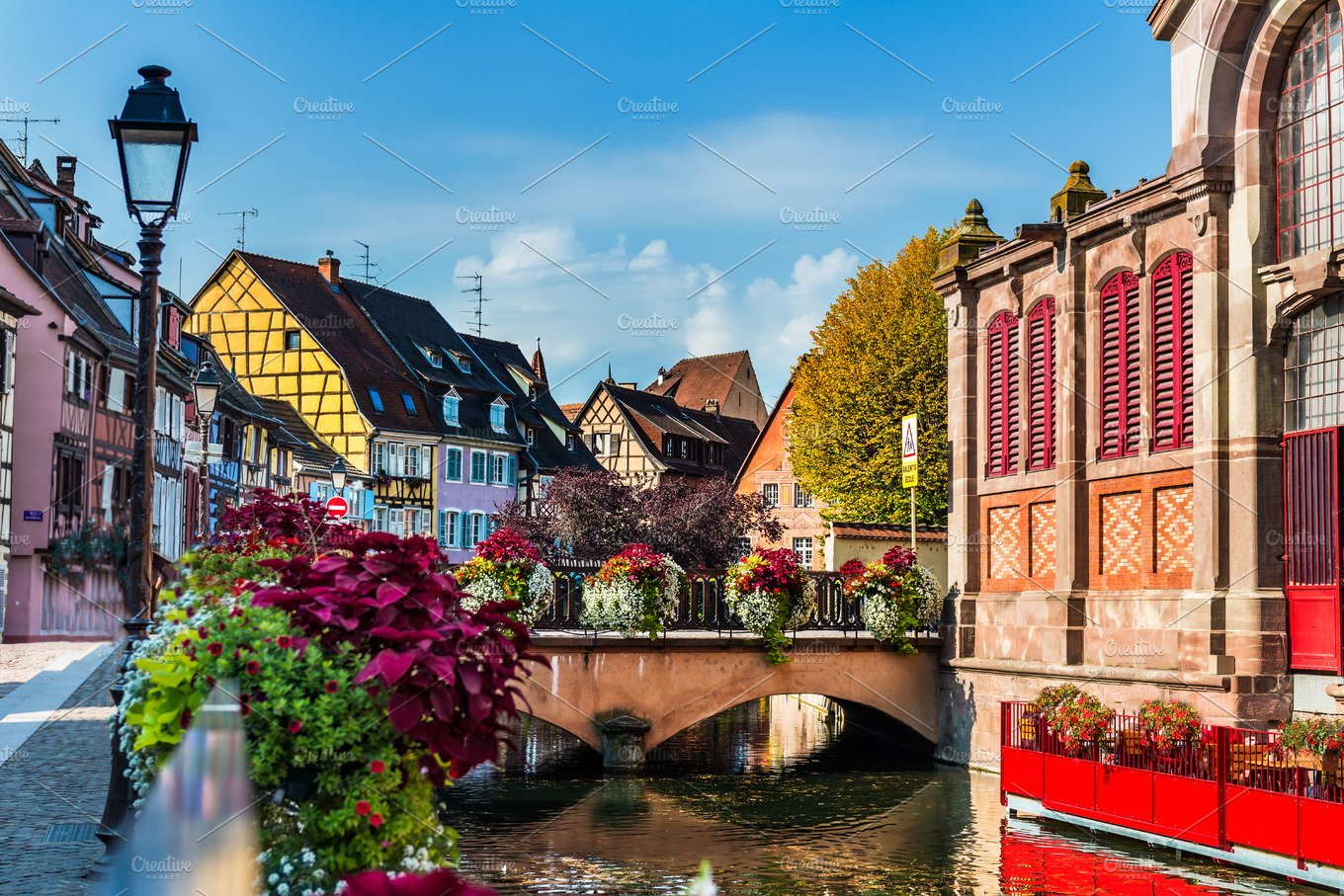 Colorful Traditional French Houses And