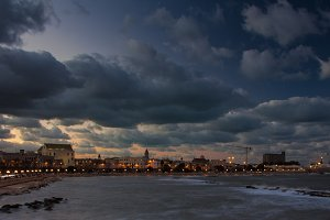 Bari with stormy clouds at sunset