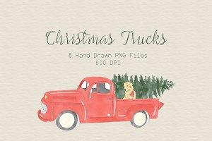Vintage Christmas Truck Clipart