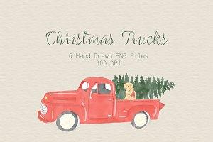 Vintage Christmas Truck Clipart