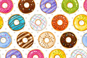 Powdered donut seamless pattern