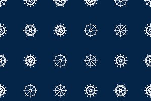 Ship helm seamless pattern