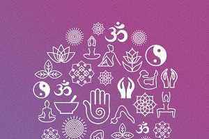 Yoga symbols in round label shape