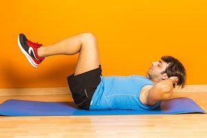 Adult man doing exercise