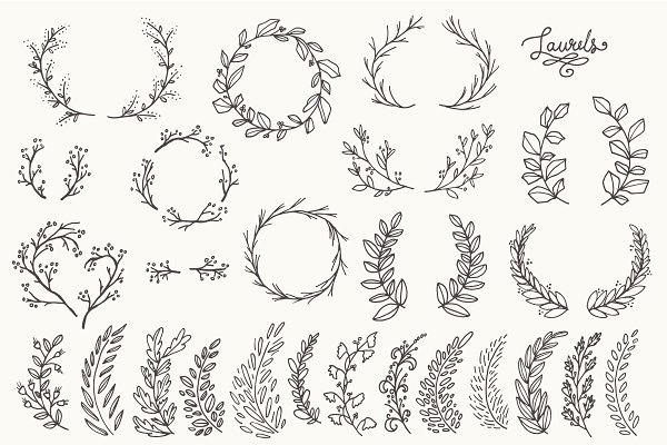 Whimsical Laurels & Wreaths Clipart!