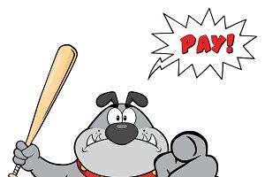 Gray Bulldog Character Holding A Bat