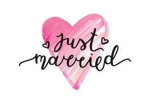Just married. Vector lettering.