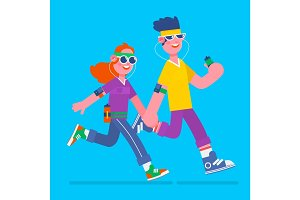 Young man and woman jogging. Young man and woman running it with music earphones and smart phone.Fitness run flat vector illustration
