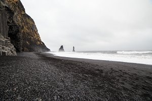 Volcanic black sand beach in Iceland