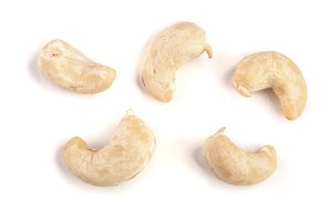 Cashew nuts isolated on white background. Top view