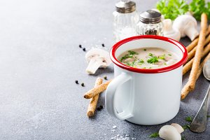 Homemade mushrooms champignons soup
