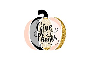 Vector illustration of Happy Thanksgiving Day, give thanks gold design