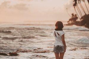 woman on exotic ocean beach