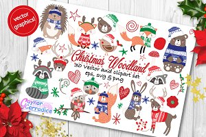 Christmas Woodland vector clipart