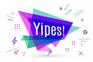 Ribbon banner with text Yipes
