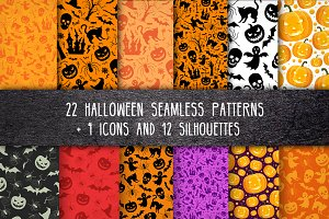 Halloween patterns and icons pack
