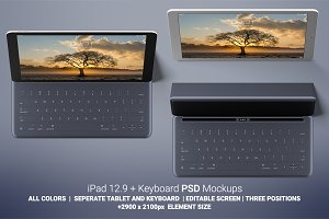 iPad 12.9 with Keyboard Mockups