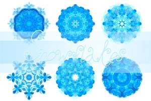 10 blue watercolor snowflakes