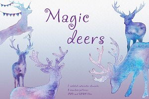 Magic deers. Watercolor illustration
