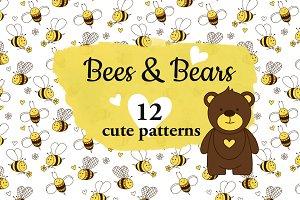 Bees & Bears. 12 cute patterns.