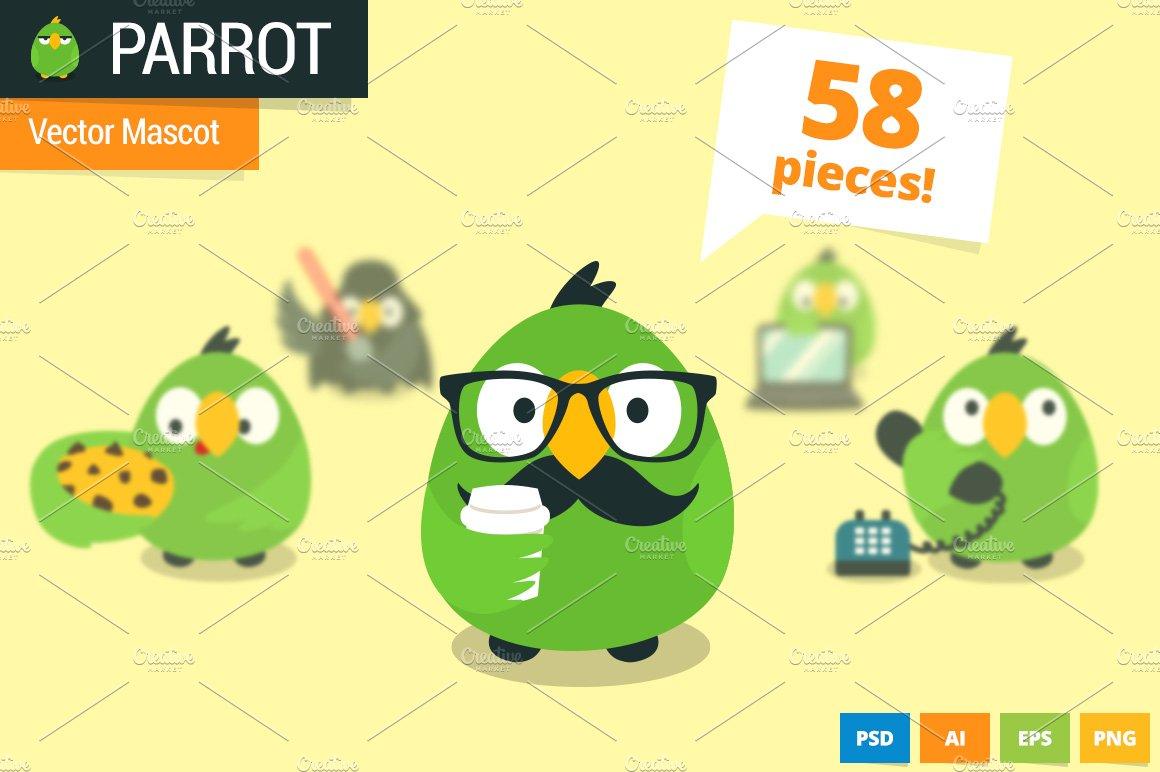 parrot vector website mascot illustrations creative market