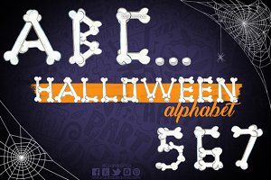 Halloween hand painted alphabet