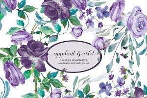 Watercolor Eggplant Roses Clip Art